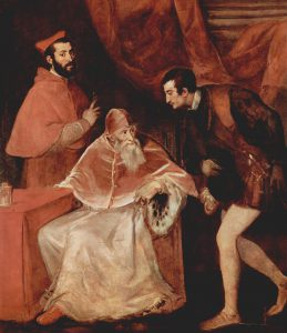 Pope Paul III with his cardinal-nephew Alessandro Farnese (left) and his other grandson, Ottavio Farnese, Duke of Parma (right). The term 'nepotism' came from the practice of popes appointing their nephews to positions of cardinal, creating Cardinal-Nephews.