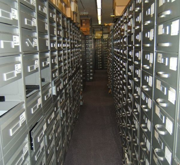 Rows of filing cabinets. Document management rendered these a thing of the past.