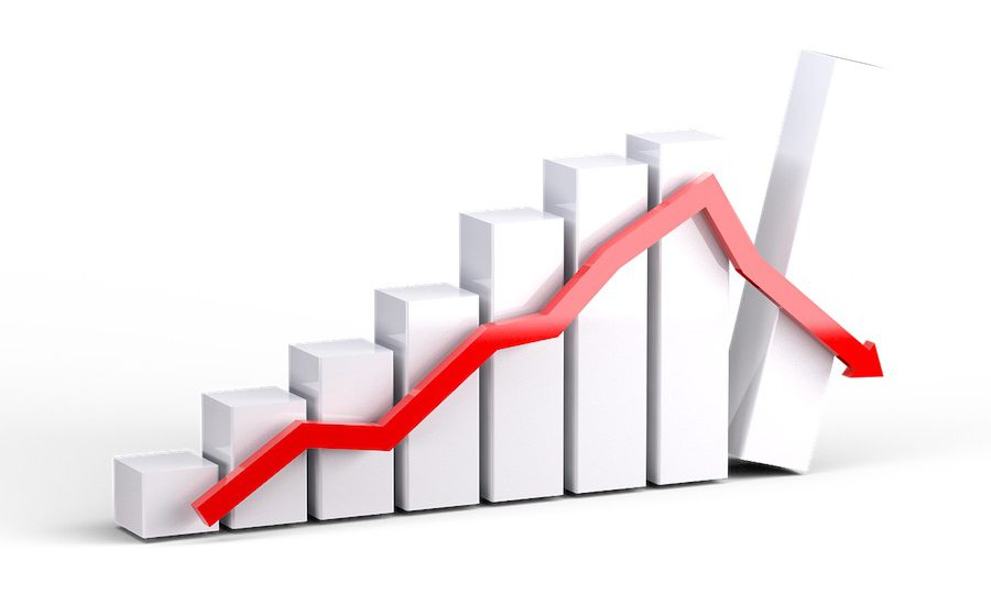3D graphic representing a recession bar graph and line graph.