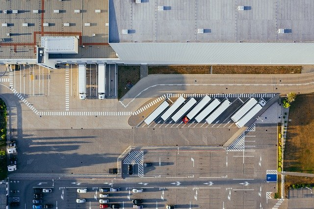 An aerial view of a logistics center. This kind of place might work with just-in-time manufacturing customers.